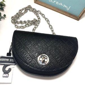 Steve Madden Black Logo Print Chain Crossbody Bag